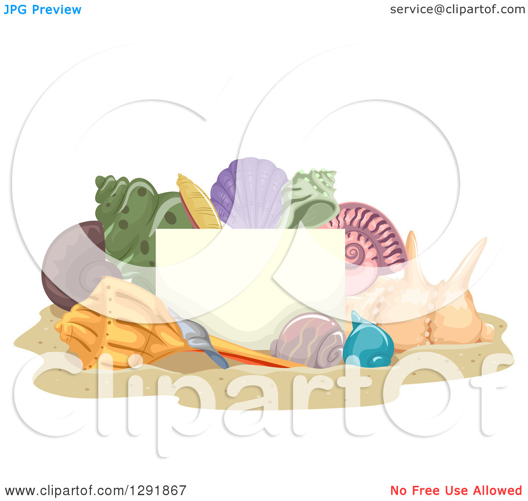 Clipart of a Blank Sign Board and Sea Shells on Beach Sand.