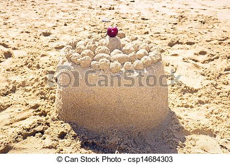 Stock Photography of Sand cake on the beach csp14684303.