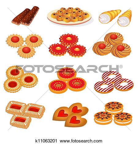 Clipart of set tasty sand cookies and cake k11063201.