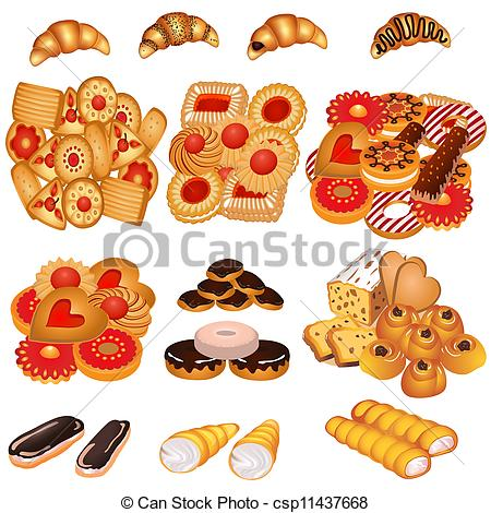 Clip Art Vector of set tasty sand cookies and cake.