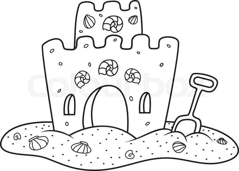 Sand Castle Clipart black and white 3.