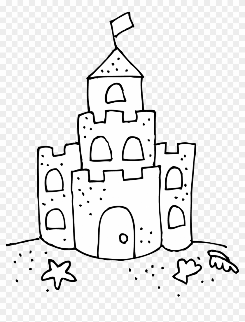 Picture Transparent Library Sand Castle Coloring Page.