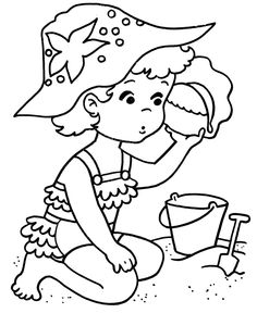 Color children in a beach clipart.