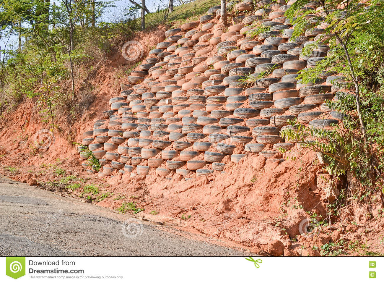 Erosion Control With Tires Stock Photo.