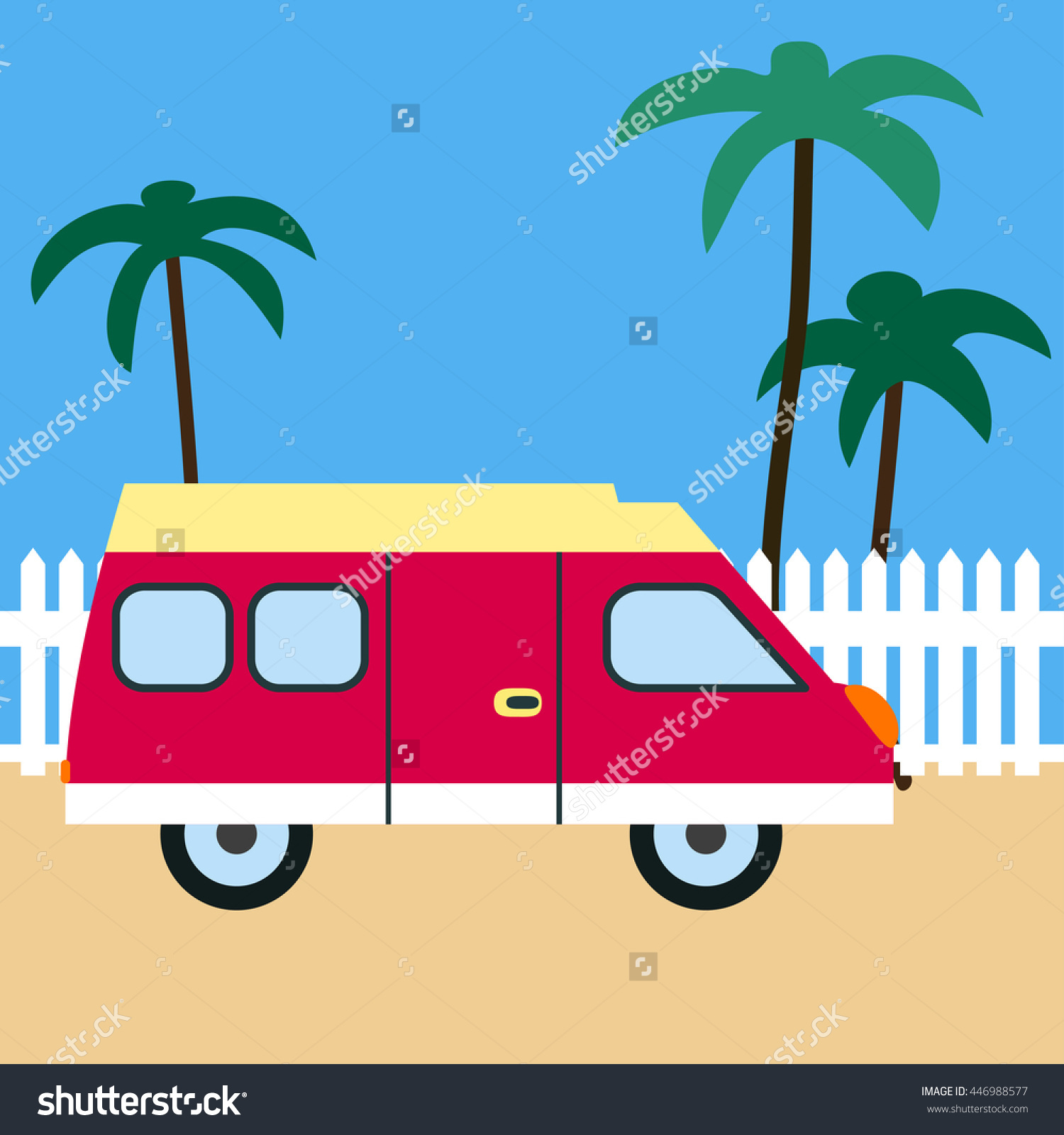 Motor Home On The Beach. Retro Car. Motor Home, Sand, White Fence.