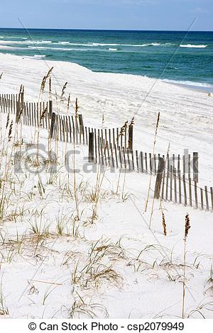 Stock Photographs of Sand Fences Along Seashore.