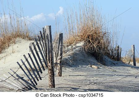 Stock Images of Fence in Dunes.