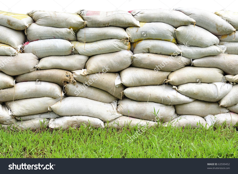 Sand Bags Help Keep Flood Waters Stock Photo 63599452.