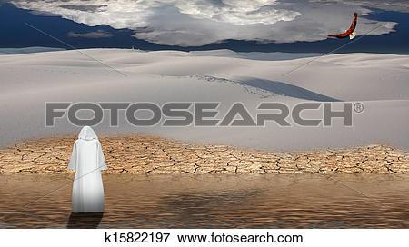 Stock Illustration of Holy man walks on water in desert flood.
