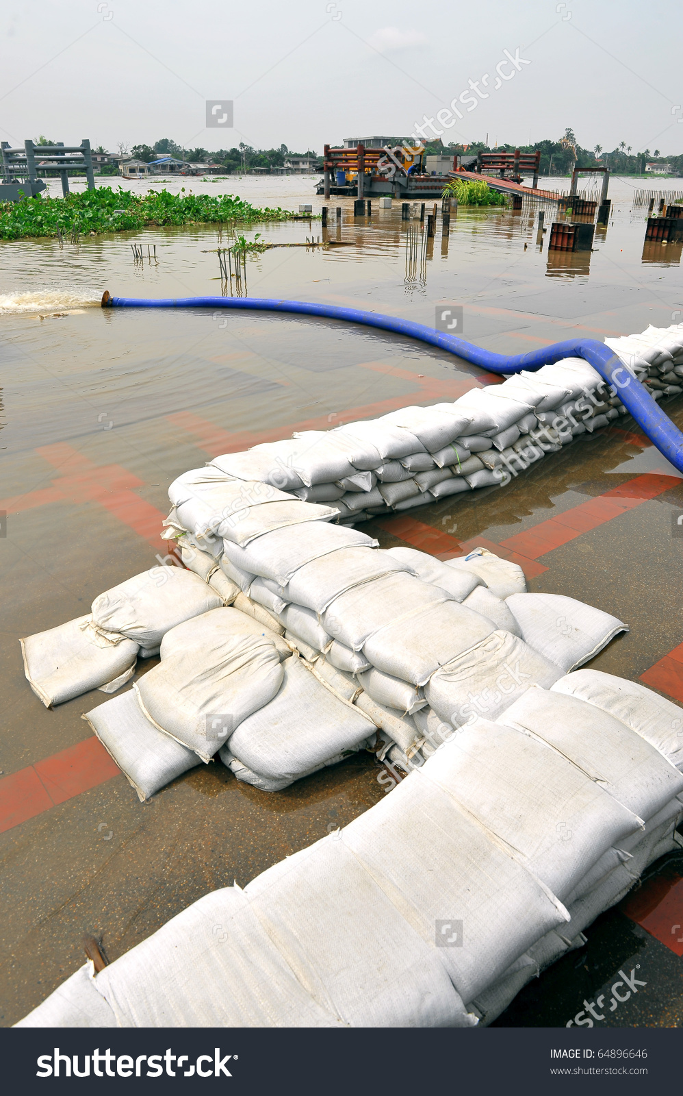 Sand Bags Help Keep Flood Waters Out Of A Town Process Flood.