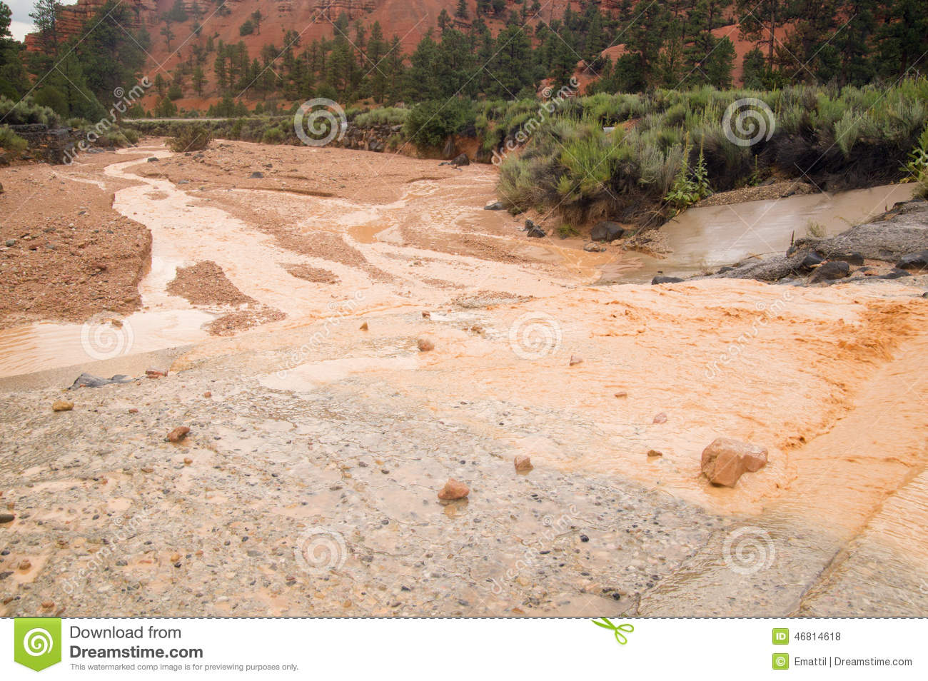 Muddy Water From Flash Flood In Utah Desert Stock Photo.