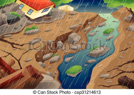 Vector Clip Art of Monsoon Rain Resulting in Flood and Mudslide.