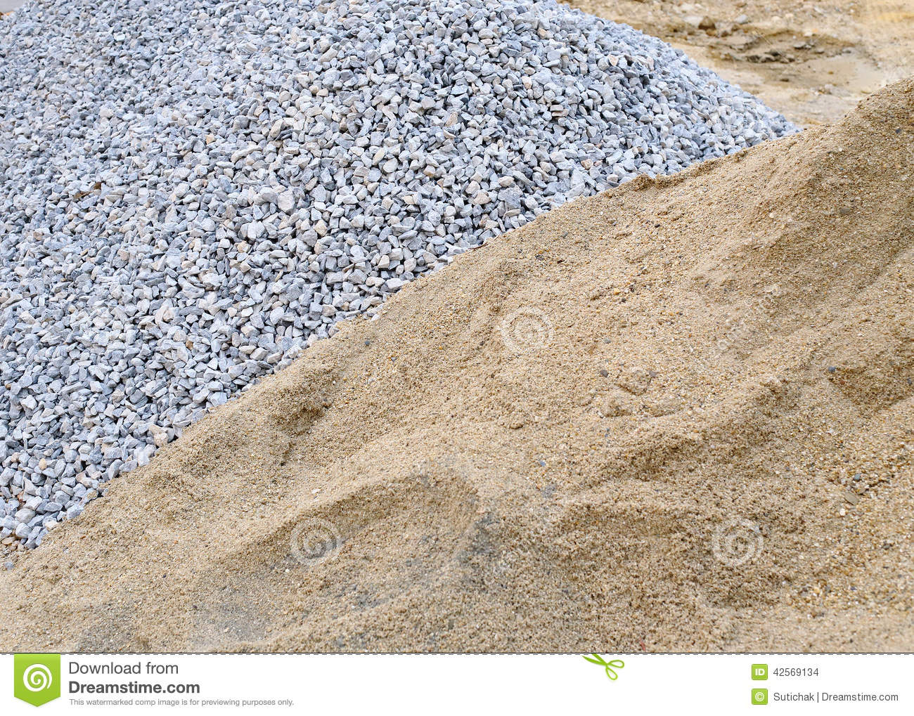Piles Sand And Gravel Stock Photo.