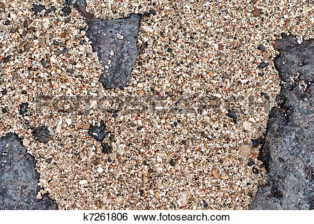 Stock Images of Seashore sand, gravel and rock k7261806.