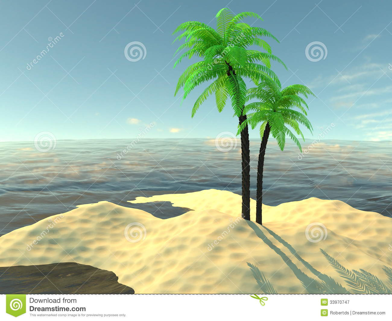 Paradise Island With Palm Trees And Sand Royalty Free Stock.