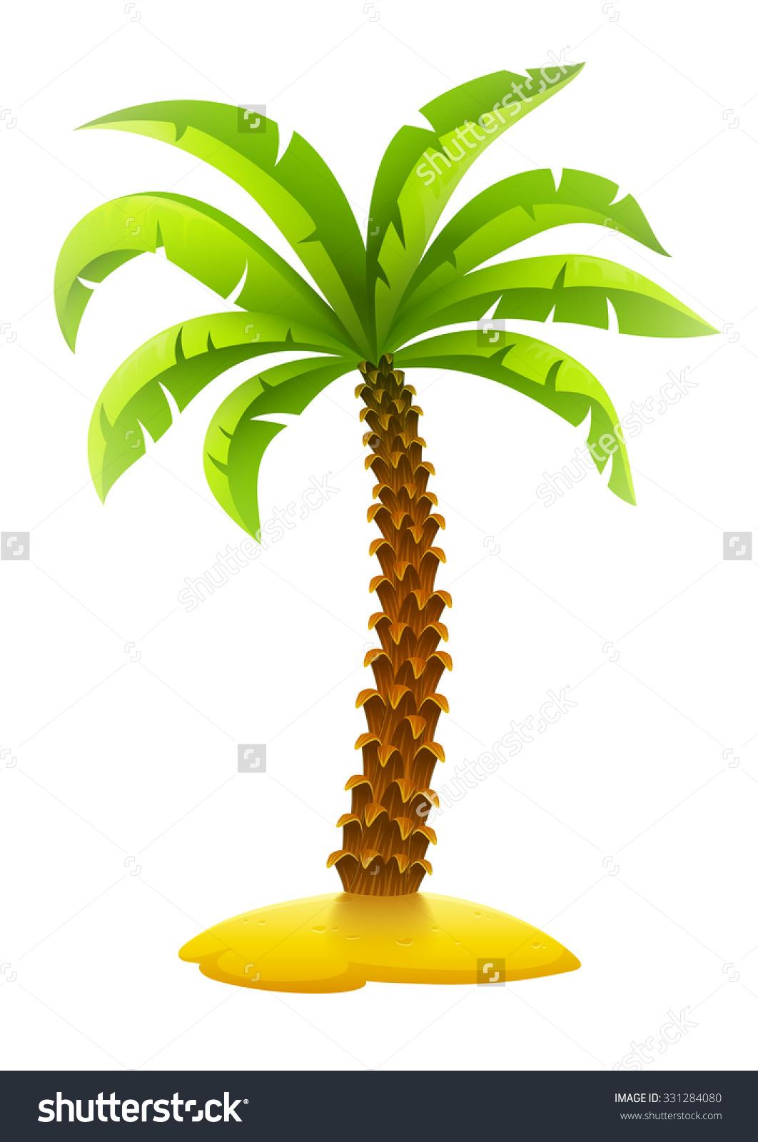 Coconut Palm Tree On Sand Island Stock Vector 331284080.