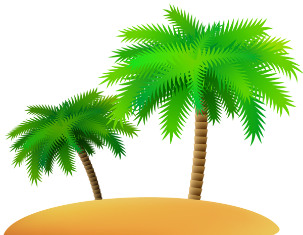 Palms and Sand Island PNG Clip Art Image.