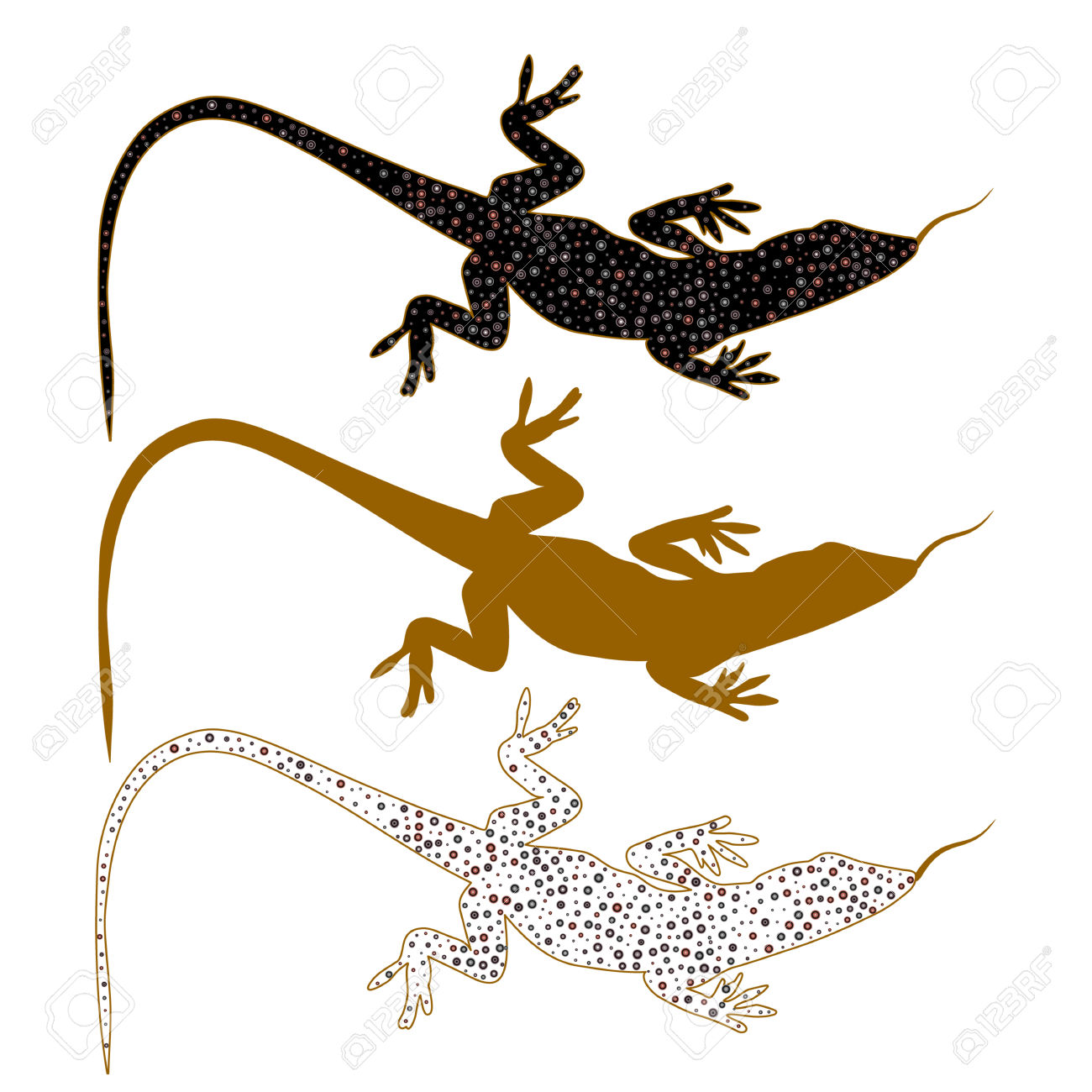 Abstract Image Of Sand Lizard Agilis. Logo With Different Color.