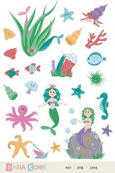 Cartoon Mermaid Clip Art.