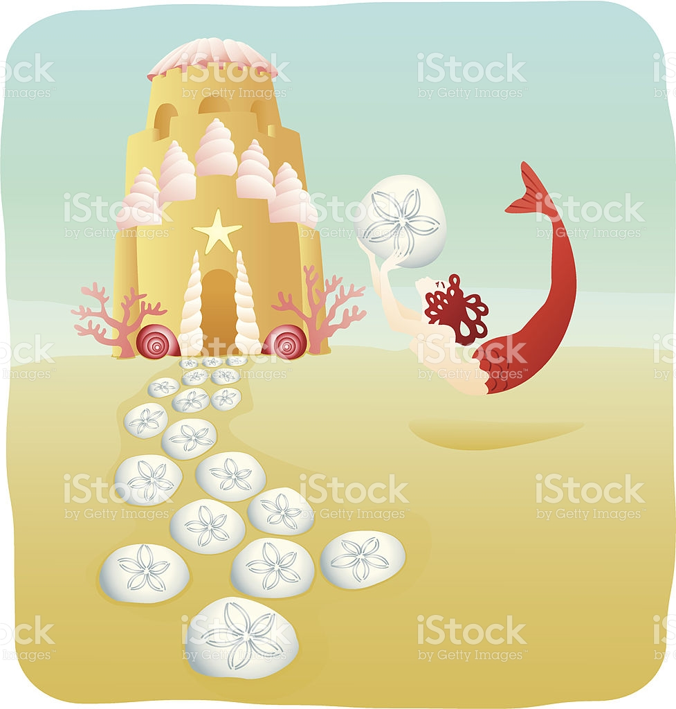Mermaid With Sand Castle Under The Sea stock vector art 105679814.