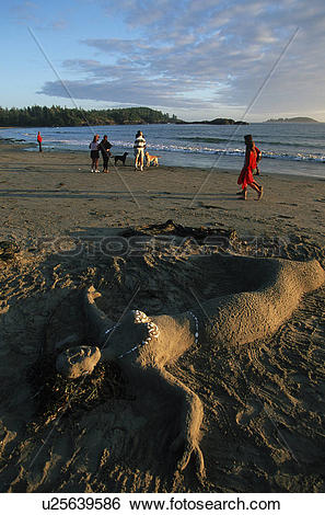 Stock Images of Sand Mermaid on MacKenzie Beach, Tofino, Vancouver.