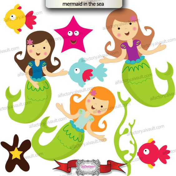 Mermaid Under the Sea Clipart.