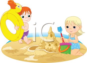 Royalty Free Clipart Image of a Little Girl and Boy Playing in the.
