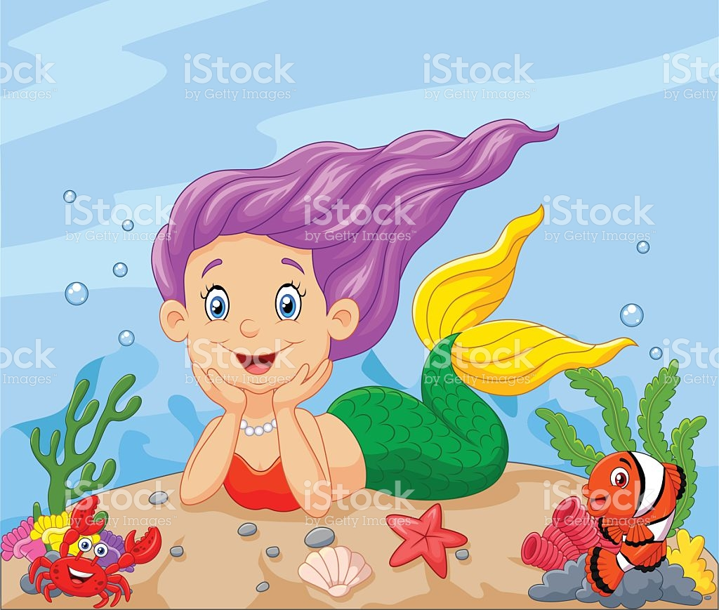 Happy Little Mermaid Laying On The Sand stock vector art 494128166.