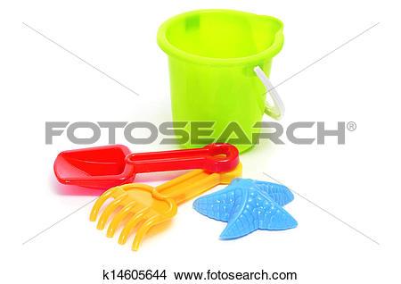 Stock Photo of sand / beach toy set: pail, shovel, rake and star.