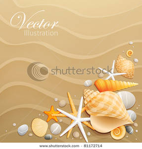 and Starfishes on Sand Clipart Image.