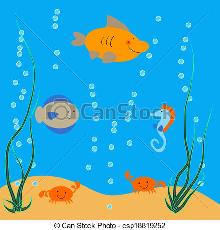 Clipart Vector of underwater ocean dwellers.