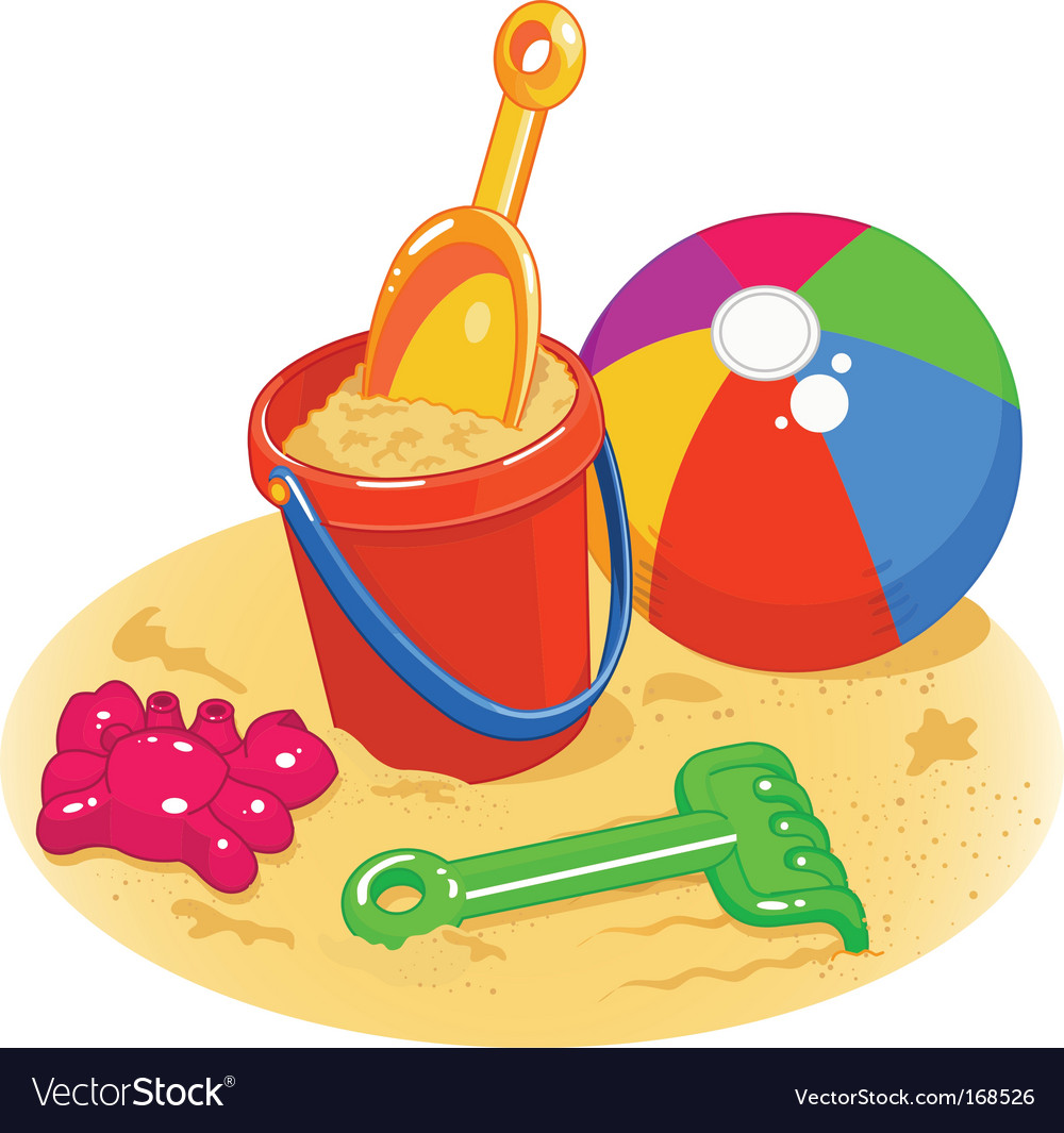 Beach toys pail shovel ball.