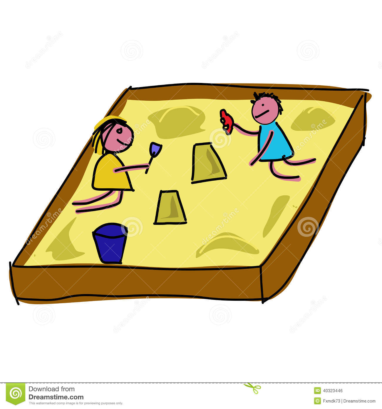 Kids Playing Sandpit Stock Illustrations.