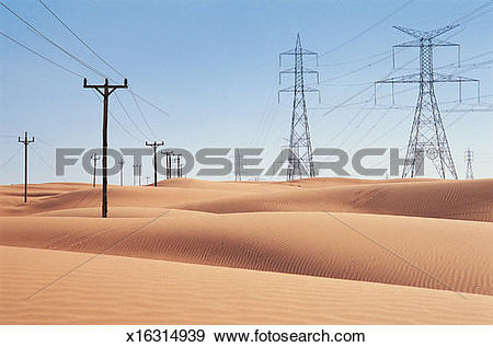 Stock Photograph of Diminishing Electricity Pylons and Telegraph.