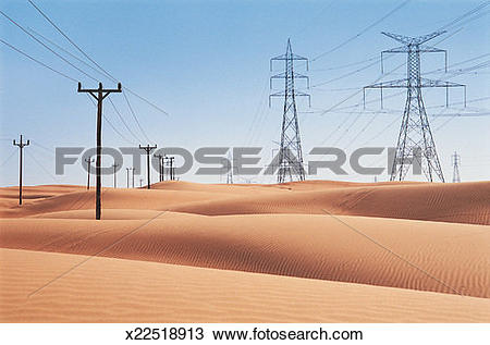 Stock Photo of Diminishing Electricity Pylons and Telegraph Poles.