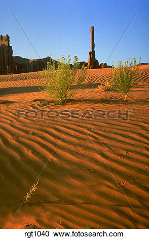 Stock Photography of View of Totem Pole Butte in Monument Valley.