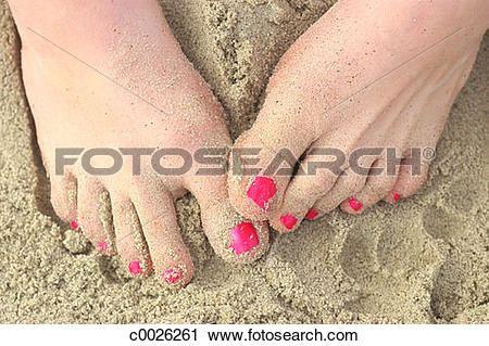 Stock Photography of beach, foot, sand, close.