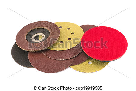 Stock Photography of round special grinder sand discs collection.