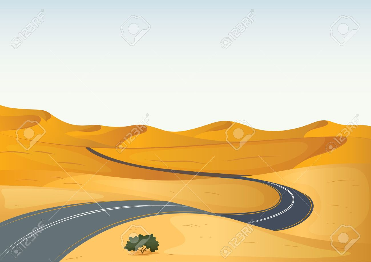 Illustration Of A Yellow Landscape And A Road Royalty Free.
