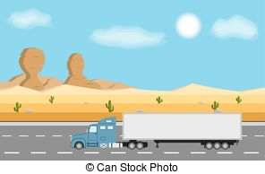Clipart of Car road amongst cactus and sand.