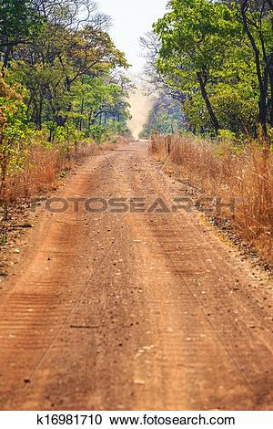 Stock Photography of Sandstorm on an abandon sand road in Africa.