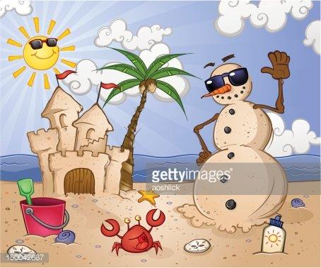 Sand Snowman at the Beach Clipart Image.