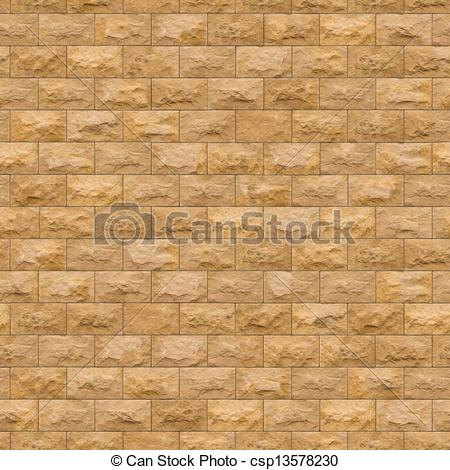 Drawings of Seamless Texture of Yellow Sandstone Brick Wall.
