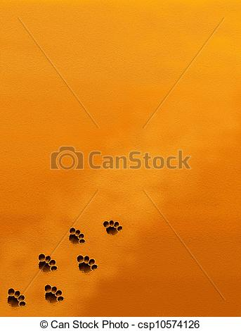 Clip Art of Animal Footprint in Brown Sand with.