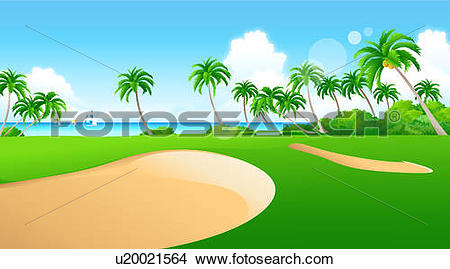 Drawings of Sand traps on a golf course u20021564.