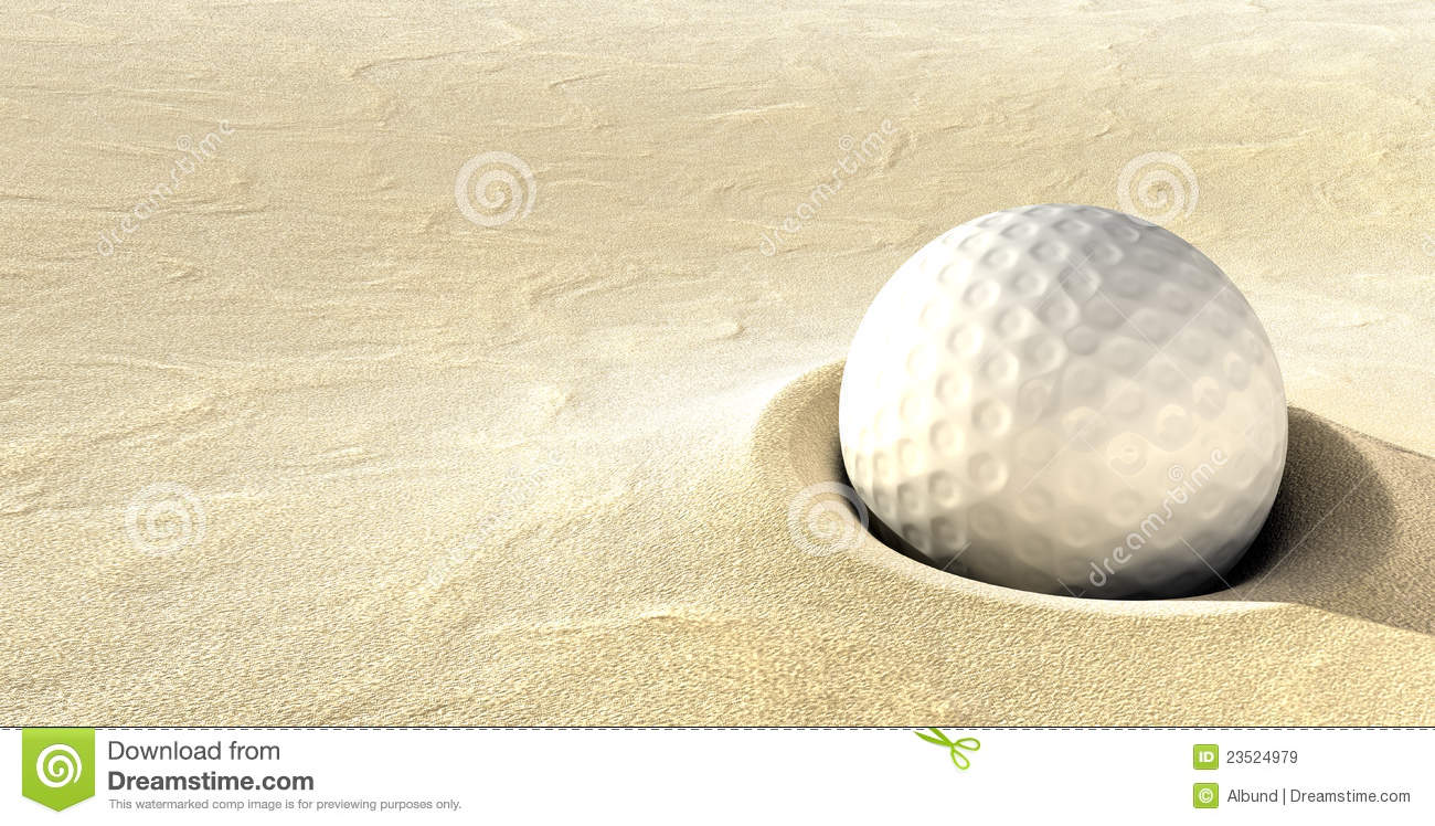 Golf Ball In Sand Trap Hazzard Royalty Free Stock Images.