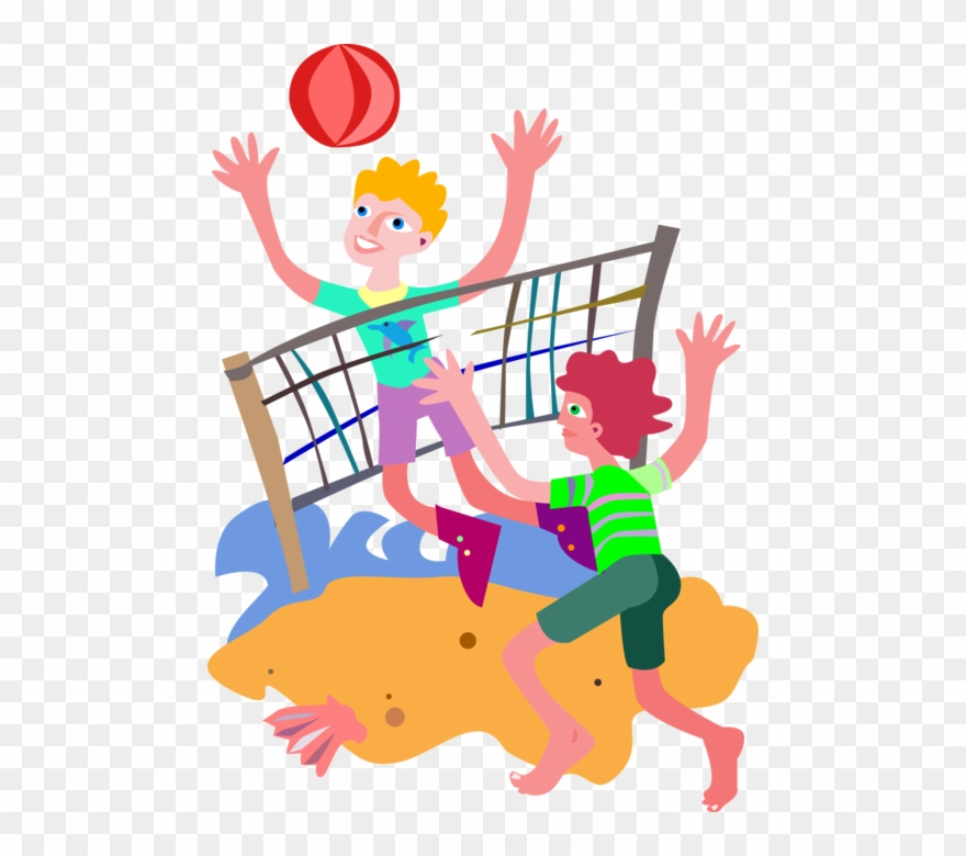 Clip Art Black And White Library Playing Volleyball.