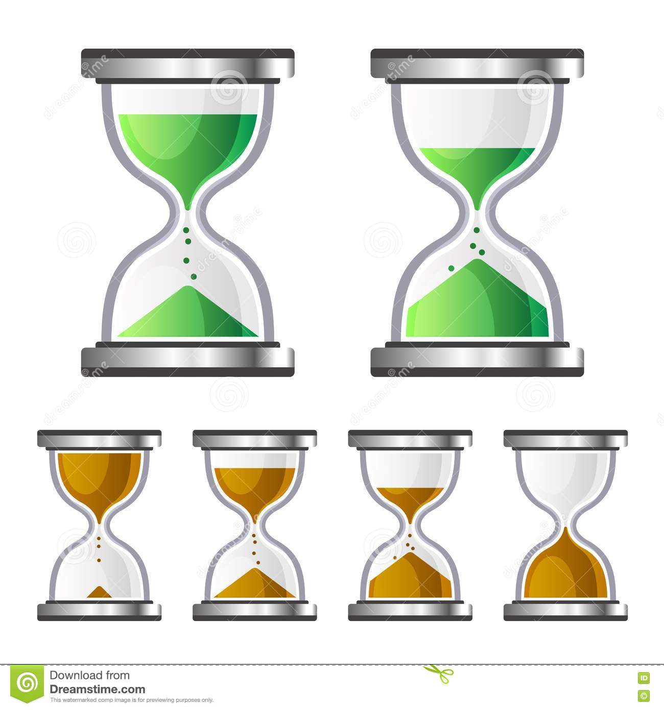 Sand Clock Glass Timer Icons On White Background. Vector Stock.