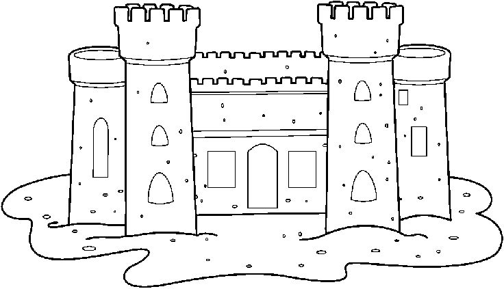 Sand Castle Black And White Clipart.