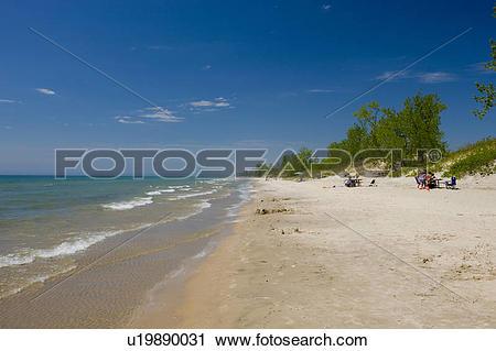 Stock Photography of Sandy beach of Lake Ontario in Sandbanks.